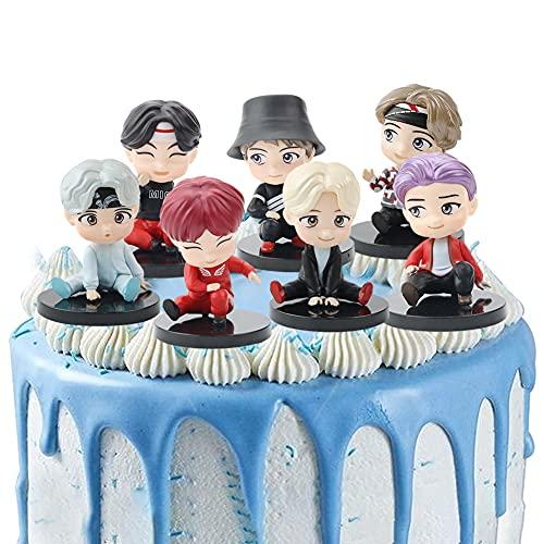 7PCS BTS Doll Cake Topper Pastel Decoración Suministros Bangtan Boys Figures Muñeca...