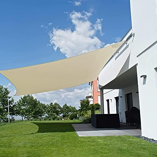 Seedforce Tenda a Vela 4 x 5 m Rettangolare, Telo Ombreggiante Impermeabile, Tenda Parasole, Telo da Sole in Polyster Oxford, Anti-Raggi UV Telo per Gazebo, Giardino, Balcone, con Borsa, Beige