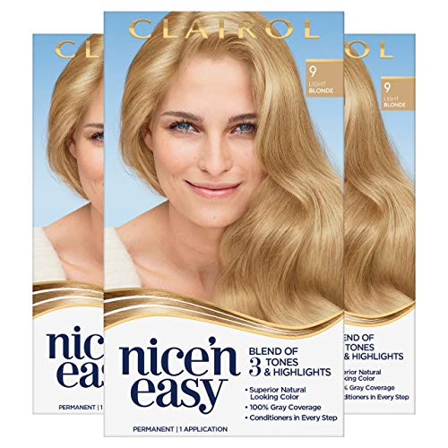 Clairol Nice'n Easy Permanent Hair Dye, 9 Light Blonde Hair Color, 3 Count