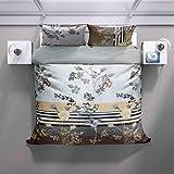 Juego de ropa de cama – 100% algodón – Diseño de pradera con cremallera – 2 unidades (1 funda nórdica de 140 x 200 cm + 1 funda de almohada de 70 x 90 – todo el año