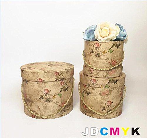 Lot de 3 boîtes rondes rétro en papier pour fleuriste - Cadeau de fête de mariage - Souvenirs de décoration - Cadeau de Noël pour la maison (petites fleurs)