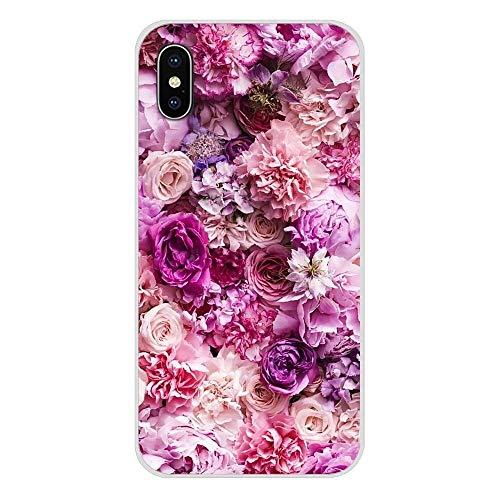 XMCJ Para Apple iPhone X XR XS 11Pro MAX 4S 5S 5C SE 6S 7 8 Plus iPod touch 5 6 púrpura flores peonías de verano accesorios fundas de carcasa (color: imágenes 1, material: para iPhone XR)