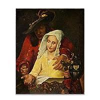 Suuyar キャンバス油絵《取り持ち女》ヨハネス・フェルメールポスター写真ウォールアートプリント寝室リビングルーム装飾-50X70Cmフレームなし