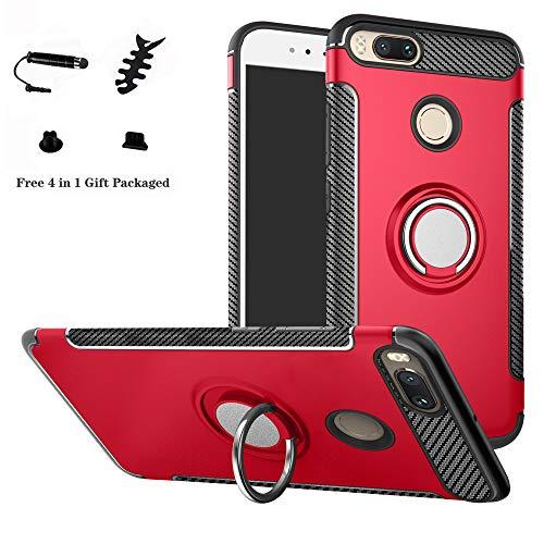 LFDZ Xiaomi Mi 5X / Mi A1 Hülle, 360 Rotation Verstellbarer Ring Grip Stand,Ultra Slim Fit TPU Schutzhülle für Xiaomi Mi 5X / Mi A1 Smartphone,Rot