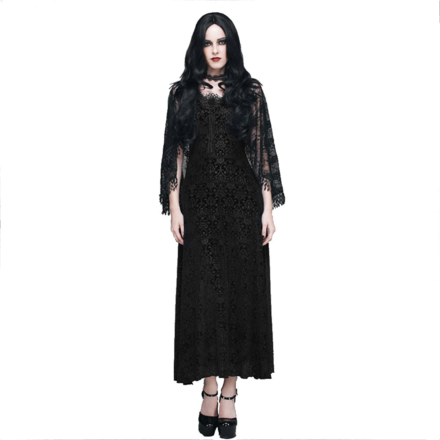 Gothic Women's Cocktail Dress With Tassel Shawl Steampunk Sleeveless Lace Prom Fomal Dress Retro Black Twopieces Sets