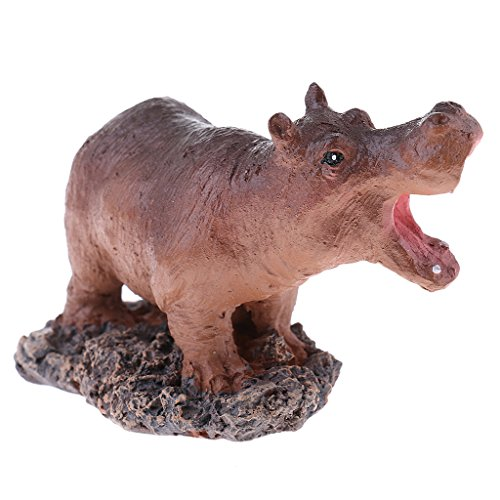 Baoblaze Realistic Mini Hippo Sculpture Statue Figurine Animal Model with Stand Collectible Art Craft Gift for Kids Friends