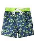 Nonwe Big Boy's Quick Dry Boardshorts Lightweight Water Sports Shorts with Pockets Holiday Beachwear Dinosaur Pattern Dark Blue 4T