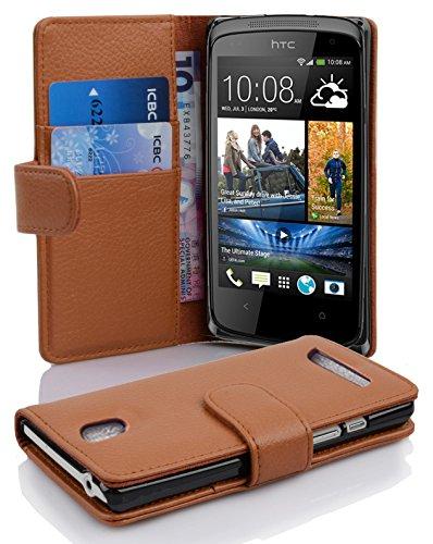Cadorabo Hülle für HTC Desire 500 - Hülle in Cognac BRAUN – Handyhülle mit Kartenfach aus struktriertem Kunstleder - Case Cover Schutzhülle Etui Tasche Book Klapp Style