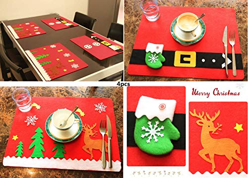 Mantel Individual de Navidad con Soporte para vajilla, manteles Individuales de Santa Claus y Renos, decoración de...