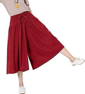 Women's Loose Fit Wide Leg Cotton Linen Cropped Palazzo Pants