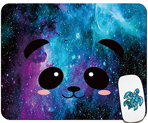 Cute Mouse Pad-Office Mouse Pad- Home & Travel Small Square Mouse Pad with Stickers -Computer Mousepad with Design for Women & Kids -Galaxy Panda Face Customized Gaming Mouse Mat for Wireless Mouse