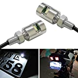 iJDMTOY (2) 12V Xenon White 5730-SMD Bolt-On LED License Plate Lights Compatible With Car Truck ATV Motorcycle Bike, etc (Chrome Finish)
