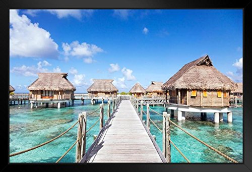 Poster Foundry Bora Bora Overwater Bungalows in The Lagoon Photo Photograph Black Wood Eco Framed Print 13x9
