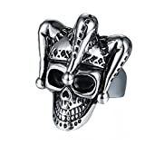 Epinki Stainless Steel Vintage Gothic Punk Rock Silver Joker Clown Skull Biker Ring for Men Size 11