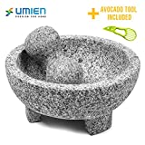Granite Mortar and Pestle Set guacamole bowl Molcajete 8 Inch - Natural Stone Grinder for Spices,...