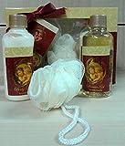 BATH GIFT set bagno VANIGLIA spugna + gel doccia e lozione corpo con angeli