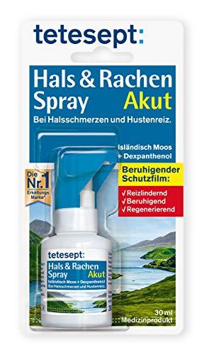 tetesept Hals & Rachen Spray – Spray mit Isländisch Moos und Dexpanthenol - zur Befeuchtung & Linderung bei Halsschmerzen, Husten und Heiserkeit – 1 x 30 ml