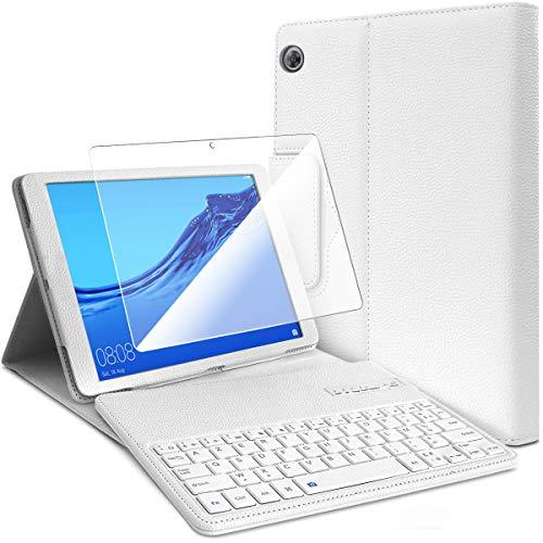 Karylax - Funda de protección (color blanco) con teclado Azerty Bluetooth + 1 protector de pantalla para Huawei Mediapad T5 de 10,1 pulgadas