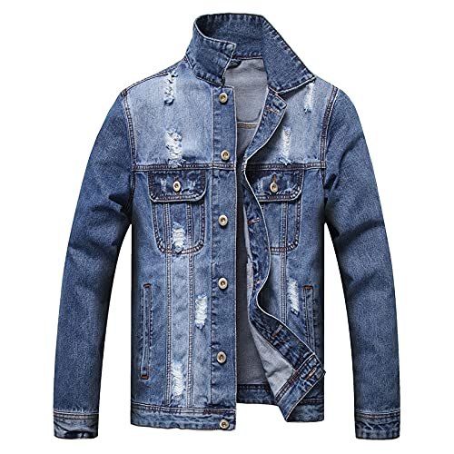Tops for Men Color Matching Hole Collar Long Sleeve Pocket Denim Jacket Coat Autumn Casual Slim Fit Blouse Tee (09 Blue, S)