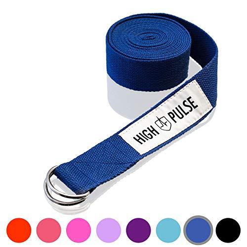 High Pulse® Yogagurt (300 x 3,8 cm) – Hochwertiger Yoga Gurt mit Verschluss als praktisches Hilfsmittel beim Yoga oder Pilates – 100% Baumwolle (dunkelblau)
