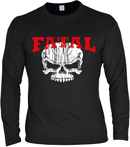 Goodman Design  Herren Langarmshirt für Biker: Fatal, Skull, Totenkopf - Geschenkidee - Geburtstag - Motorrad - Bikerkleidung - schwarz