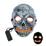 KATELUO Mascara LED Halloween, LED Mascaras Halloween, Mascara Purga LED, Craneo Esqueleto Mascaras, Halloween Mascaras para Halloween Mascarada Cosplay Carnaval Alimentado por Batería