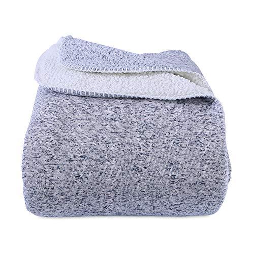 Berkshire Blanket Soft Sweater Knit Reversible Bed Blanket, Full/Queen, Cadet Blue