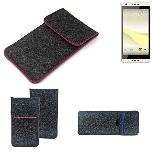 K-S-Trade Filz Schutz Hülle Für HTC Desire 650 Schutzhülle Filztasche Pouch Tasche Hülle Sleeve Handyhülle Filzhülle Dunkelgrau Rosa Rand