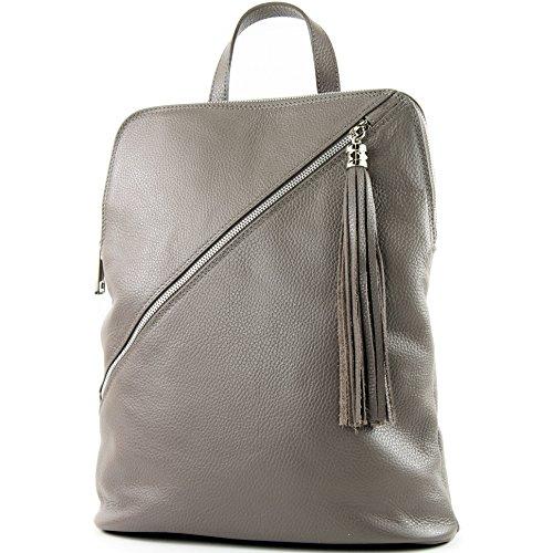 modamoda de - T161- ital Damen Rucksacktasche 3in1 aus Leder, Farbe:T161 Beigegrau