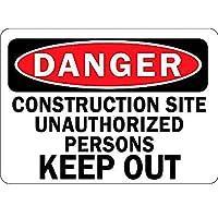 Danger Construction Site Unauthorized Persons Keep Out 注意看板メタル安全標識壁パネル注意マー表示パネル金属板のブリキ看板情報サイン