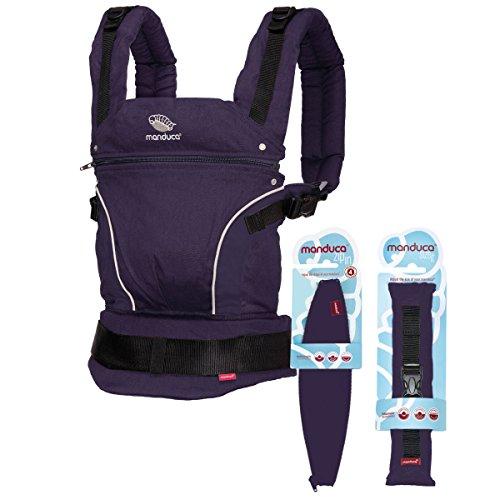 manduca Babytrage PureCotton > Premium Bundle Purple < Optimierte 3P-Sicherheitsschnalle - Von Geburt an Paket incl. SizeIt (Stegverkleinerer) & ZipIn Ellipse (für Neugeborene), lila