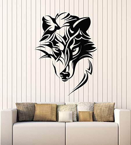 Vinyl Wall Decal Abstract Celtic Wolf Predator Ornament Head Stickers Mural Large Decor (g2423) Black