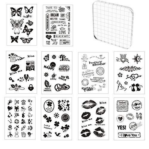 10 Hojas Sellos de Silicona Transparente con 1 Bloques de Acrílico 10 * 10cm Transparente Álbum de Álbumes de Recortes para Manualidades Scrapbooking,Fotos Decoración,Postales de Recortes