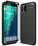 HuYin Google Pixel 4 Case with Tempered Glass Screen Protector Frosted Shield Luxury Slim Desig…