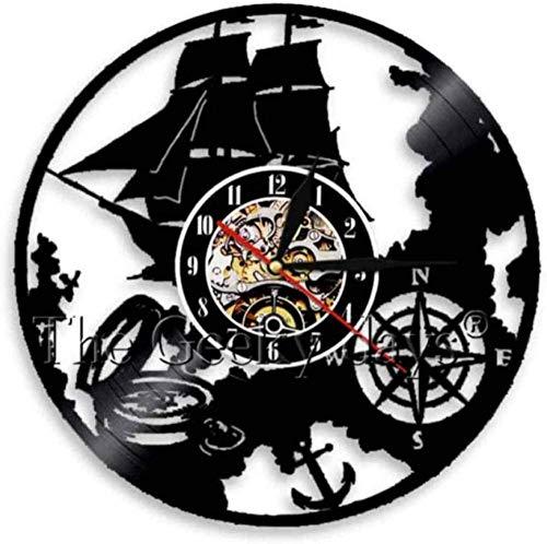 ZZLLL Reloj de Pared de Vinilo Reloj de Pared de Vinilo Reloj de Pared Decoración del hogar Ancla de música LED y Barco de mar Lámpara de Pared Regalo Retro Hombre Mujer Dibujos Animados Anime
