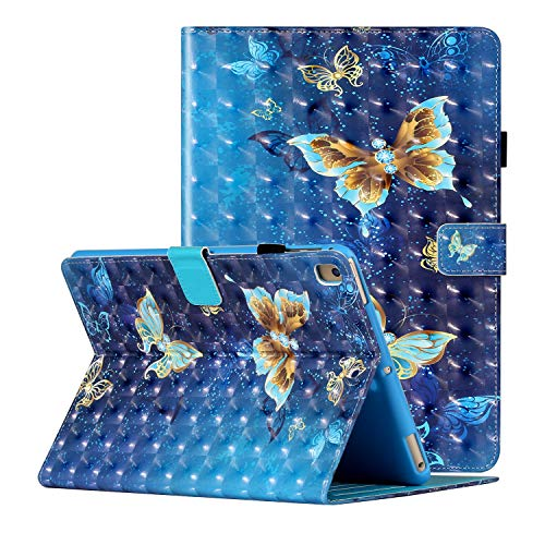 Dteck iPad 6th Gen Case 2018, iPad 5th Gen Case 2017, iPad Air 1 2 Case, 3D Pattened Cover Case Auto Sleep Wake Shockproof Flip Stand Pencil Holder for Apple iPad 9.7' 6th 5th Gen, Butterfly