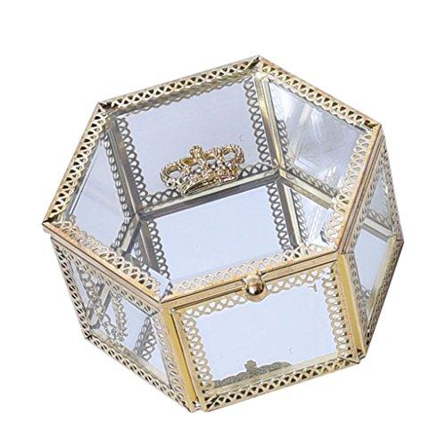 Hellery Caja de Vidrio Hexagonal para Exhibición de Joyas con Tapa con Bisagras en Forma de Corona