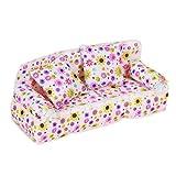 Unbekannt Mini Tuch Sofa und 2 Kissen Spielzeug Set Blumen Gedruckt Puppenhaus Miniatur Möbel Couch...