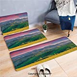 3 Piece Non Slip Flannel Door Mat Summer Sunrise in the Mountains with Rolling Hills and Valleys in Morning Light Deco Decorative Indoor Carpet for bath Kitchen(W15.7xL23.6 by W19.6xL31.5 by W15.7xL39