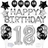 """Bluelves 18 Decoración Fiesta Negro Plata Cumpleaños -""""Happy Birthday"""" Bandera Banner;Número 18 Globo;Balloon de Látex&Estrella para el Cumpleaños de 18 Años impresión para Niño Hombres Niña Mujer"""