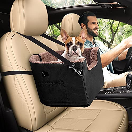 FAREYY Dog Booster Seat Elevated Dog Car Seat - for Small Dogs Under 40 lbs - with Storage Pocket and Clip-On Safety Leash, Warm Plush Pet Booster Seat