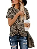 BMJL Women's Casual Cute Shirts Leopard Print Tops Basic Short Sleeve Soft Blouse(M,Leopard) from