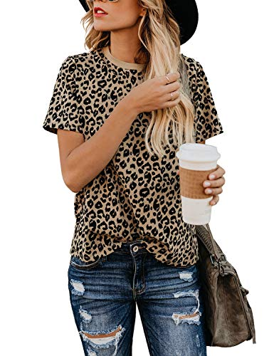 BMJL Women's Casual Cute Shirts Leopard Print Tops Basic Short Sleeve Soft Blouse(L,Leopard)