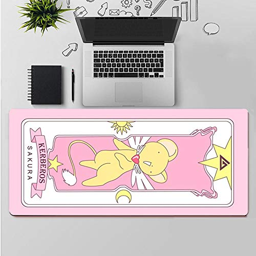 Tonjaberg Stitched Edge Mouse pad/Card Captor Cerberus Anime Mouse pad/XL XXL Gaming Mouse pad Anti-Slip/Anti-Dirty/Waterproof Mouse pad-35.4 inches × 15.7 inches (900 mm 400 mm)