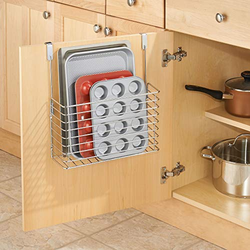 """iDesign Classico Metal Over the Cabinet Kitchen Bakeware Organizer Basket for Cutting Boards, Baking Sheets, Pans, 13.73"""" x 5.18"""" x 14.2"""" - Chrome"""