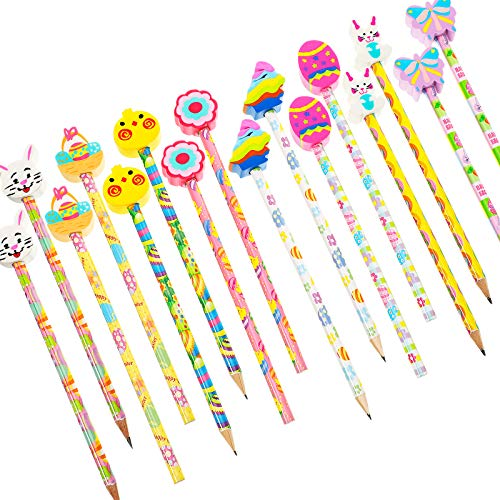 Easter Pencils with Eraser Toppers Easter Themed Pencils Stationery Fun Easter Basket Fillers for School Supplies and Children Party Present (16)