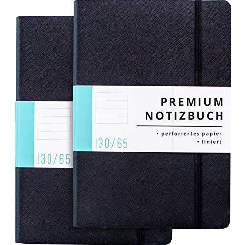 Papercode Notizbuch liniert mit edlem Kunstledereinband – 130 Seiten – Tagebuch für Erwachsene, Schüler, Studierende – Doppelpack – schwarz
