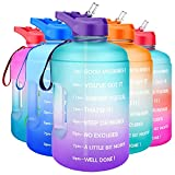 QuiFit Gallon Water Bottle Motivational - with Time Marker & Straw Leak-Proof BPA Free Durable Reusable 128oz Water Jug for Fitness, Gym and Outdoor Sports(Green/Purple)