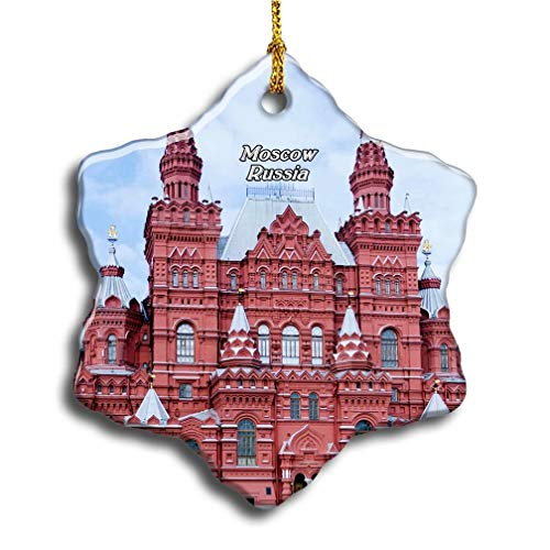 Umsufa Russia Red Square Moscow Christmas Ceramic Ornament Xmas Tree Decor Souvenirs Double Sided Snowflake Porcelain Home Gifts