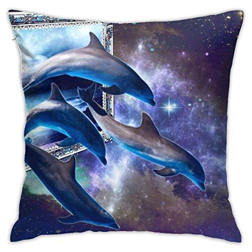 Throw Pillow Cover Cushion Cover Pillow Cases Decorative Linen Blue Dolphin for Home Bed Decor Pillowcase,45x45CM